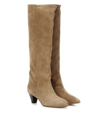 Isabel Marant Etoile Robby Suede Knee High Boots Brown