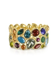 Forzieri Multicolor Crystal And Metal Bangle Gold