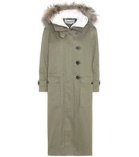 Valentino Fur Trimmed Shearling Lined Parka Green