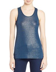 William Rast Foil Tank Top Teal Combo