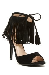 Chase And Chloe Edward Fringe High Heel Sandal Black
