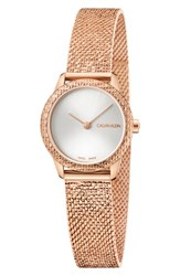 Calvin Klein Minimal Mesh Bracelet Watch 24Mm Rose Gold Silver