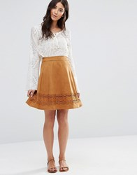 Vila Drawn Skirt Oak Brown
