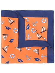 Kiton Sailor Pocket Square Orange