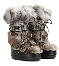 Jimmy Choo X Moon Boot Mb Classic Rabbit And Fox Fur Trimmed Leather Snow Boots Brown