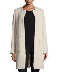 Cinzia Rocca Zip Front Collarless Wool Coat Sand
