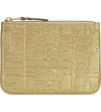 Comme Des Garcons Embossed Small Metallic Leather Pouch Gold Emb