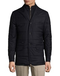 Black Brown Quilted Wool Jacket Navy Marine