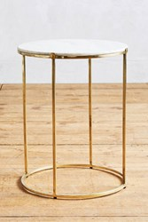 Anthropologie Leavenworth Marble Side Table Brass