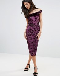 Liquorish Off Shoulder Velvet Pencil Dress Ox Blood Purple