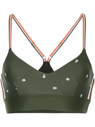 The Upside Skull Print Bra Top Green