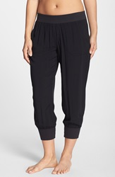 Pink Lotus Woven Leisure Sweatpants Black