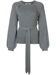 Chalayan Puff Sleeve Ribbed Sweater Grey