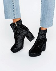 Truffle Collection Mid Heel Platform Boot Black Velvet