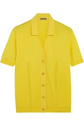 Bottega Veneta Pointelle Knit Ribbed Cotton Blend Top Yellow
