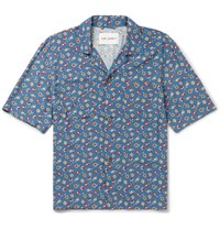 Our Legacy Camp Collar Floral Print Voile Shirt Blue