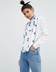 Asos Blouse With China Blue Embroidery Ivory China Blue White