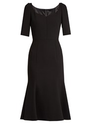 Dolce And Gabbana Armaturato Stretch Wool Flared Dress Black
