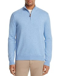 Brooks Brothers Cotton Half Zip Sweater Light Blue