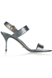 Sergio Rossi Patent Leather Sandals Gray