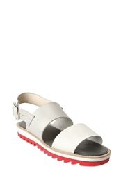 Tsumori Chisato Sling Back Leather Sandals Off White Red