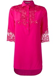 Ermanno Scervino Lace Inserts Shirt Pink Purple
