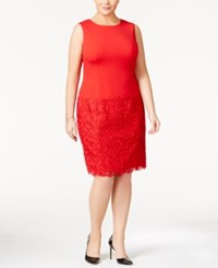 Calvin Klein Plus Size Lace Inset Sheath Dress Red