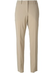 Armani Collezioni Cropped Front Pleat Trousers Nude And Neutrals
