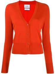 Barrie V Neck Cashmere Cardigan Orange