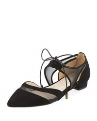 Andre Assous Maddie Pointed Toe Lace Up Ballerina Flat Black
