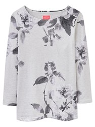 Joules Harbour 3 4 Sleeve Printed Jersey Top Creme Floral