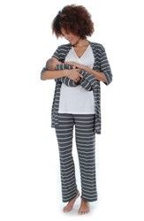 Everly Grey Roxanne During And After 5 Piece Maternity Sleepwear Set Charcoal
