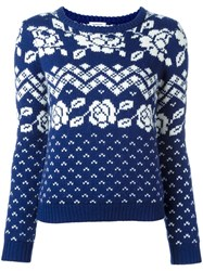 Manoush 'Norway' Fair Isle Knit Jumper Blue