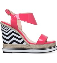 Nicholas Kirkwood Leda Patent Leather Wedge Sandals Pink