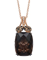 Levian 14K Rose Gold Smoky Quartz And Diamond Pendant Necklace Smokey Quartz Rose Gold