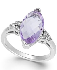 Macy's Pink Amethyst 3 Ct. T.W. And Diamond 1 8 Ct. T.W. Ring In 14K White Gold