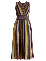 Missoni V Neck Striped Pleated Knit Dress Multi