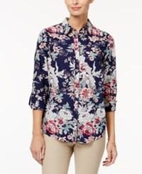 Charter Club Petite Cotton Floral Print Roll Tab Shirt Only At Macy's Intrepid Blue Combo