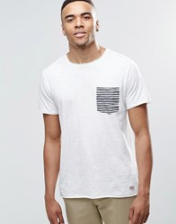 Jack And Jones T Shirt With Contrast Stripe Pocket White