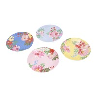 Joules Hollyhock Meadow Garden Plates Set Of 4 Blue Floral