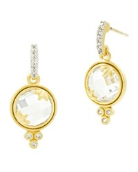 Freida Rothman 14K Fleur Bloom Cubic Zirconia Mini Drop Earrings Gray Yellow