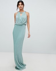 Forever Unique Keyhole Neck Maxi Dress Green