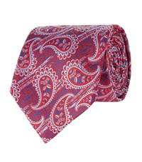 Turnbull And Asser Paisley Silk Tie Unisex Red