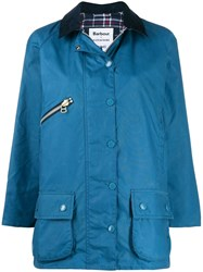 Barbour Zip Detail Parka Coat Blue