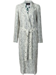 Calvin Klein Printed Belted Mid Length Coat White