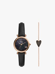 Fossil Es4502 'S Leather Strap Watch And Diamond Heart Chain Bracelet Gift Set Black