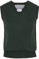 Red Valentino Point D'esprit Paneled Cashmere And Silk Blend Top Forest Green