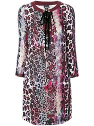 Just Cavalli Lace Up Printed Dress Women Polyester Viscose 42 Pink Purple
