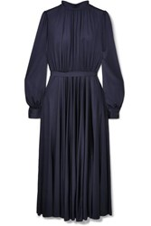 Co Gathered Stretch Sateen Midi Dress Navy