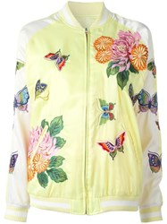 P.A.R.O.S.H. Butterfly Decal Bomber Jacket Yellow Orange